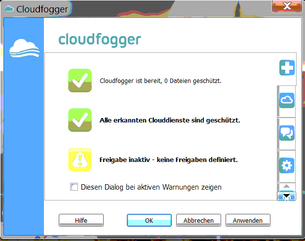cloudfogger disable warning